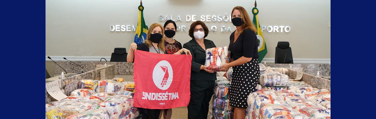 Sindicatos colaboram com a campanha solidária do TRT/CE e doam mais de 350 cestas básicas